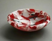 Red, White and Black Fused Glass Bowl
