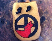 Native American Wolf Medicine Wheel Leather Medicine Bag