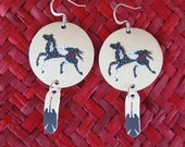 Native American Horse Appaloosa Earrings with Eagle Feather