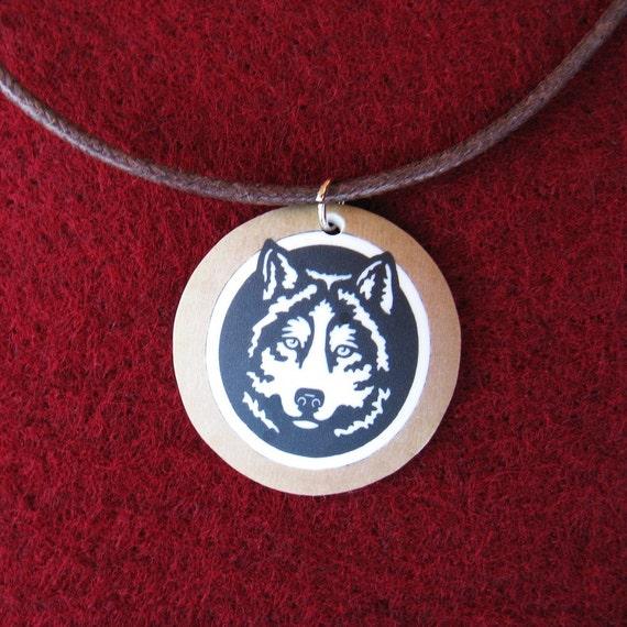 Wolf Sacred Native American Symbols Necklace Black White