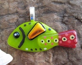 Fused glass Lime and Red FISH pendant   LIMITED Production 002