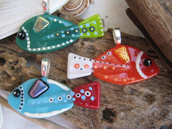 SURPRISE Hand painted Fused glass FISH pendant  in RANDOM Color Limited Production 023