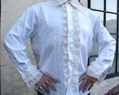 Men's White Lace Steampunk Pirate Shirt