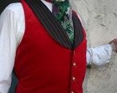 Red Velvet and Charcoal Grey Pinstripe Gentlemen's Steampunk Vest