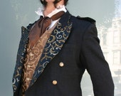 Up-cycled Steampunk Black Smoking Jacket with Black and Gold Swirl Tapestry Cloth and Yellow Ultra Suede Vest