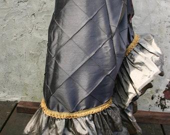 Bronze and Gold Silk Diamond Victorian Bustle Skirt