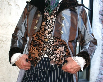 Stripe Taffeta Steampunk Frock Cutaway Coat with Brown Velvet