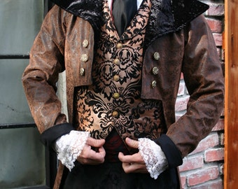 Brown and Black Tooled Faux Leather Steampunk Frock Cutaway Coat