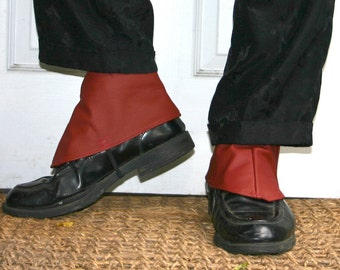 Red Burgundy Leather Steampunk Spats
