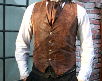 Brown and Black Tooled Faux Leather Gentlemen's Steampunk Vest, Frilly Shirt and Cravat Ensemble