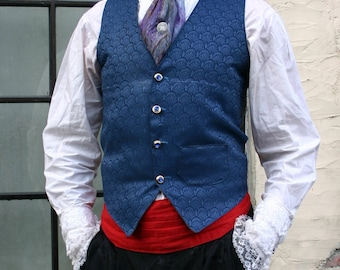 Royal Blue Filigree Tapestry French Steampunk Gentlemen's Vest