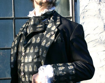 Up-cycled Navy Blue Pinstripe Smoking Jacket Appliqued with Black Oncoming Train Silk Brocade