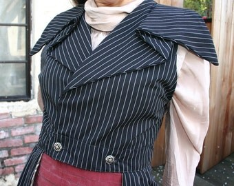 Women's 1895-style Steampunk Black Pinstripe Outer Great Vest