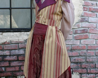 Women's 1895-style Steampunk Gold and Cranberry Stripe Outer Great Vest