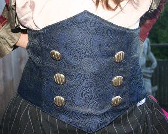Steampunk Underbust Corset Belt Royal Blue and Black Paisley Silk Brocade