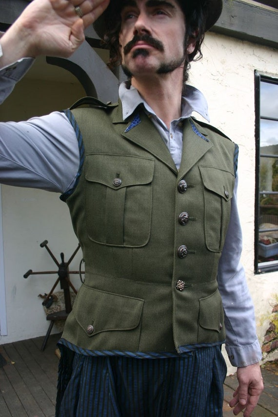 Up cycled Tailcoat Vest Steampunk Army Variant