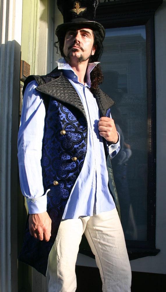 Black and Royal Blue Bonnie Prince Charlie Tailcoat Vest