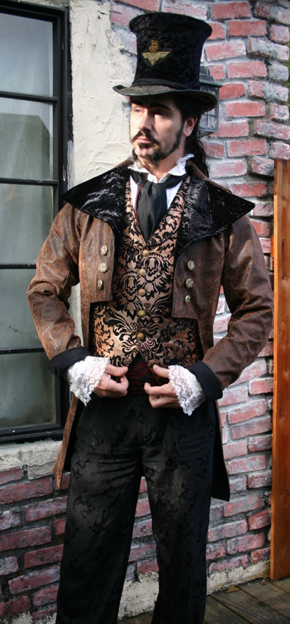 Brown and Black Tooled Faux Leather Steampunk Frock Cutaway Coat, Vest, Shirt, Trousers and Cravat Ensemble