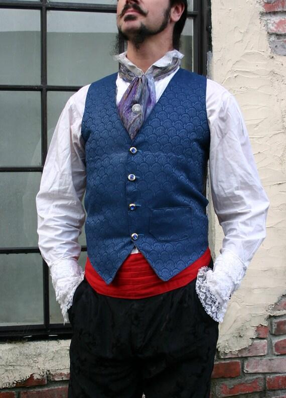 Royal Blue Filigree Tapestry French Steampunk Gentlemen's Vest