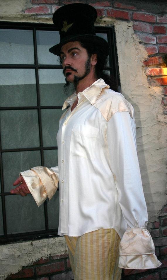 Men's White  Steampunk Dandy Pirate shirt