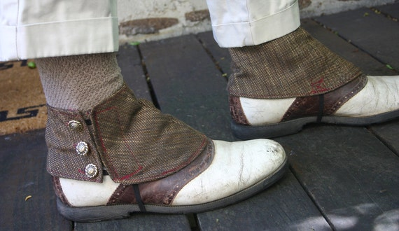 Brown Tweed Linen Spats
