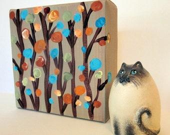 "Original Acrylic Painting ""Willowy"" on Khaki Mini Canvas 4"" x 4"""