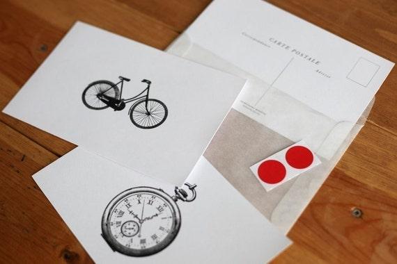 Vintage Bike/Watch Carte Postale