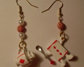 Alice - diamond Playing Card and Unbirthday Tea - dangle earrings