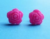 pretty Hot Pink Rose - stud earrings - nickel free