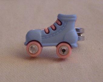 I'm a Derby Girl. super cute roller skate adjustable ring w/ crystal wheels