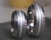 Titanium Silver Inlay Ring SET or Modern Wedding Bands Frosted