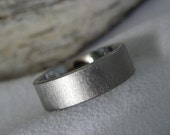 Titanium Ring with Flat Profile Frosted Finish Wedding Band