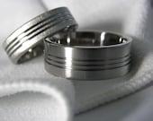 Titanium Ring SET Matching Bands 3 Cut Grooves Flat Profile