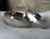 Matching Ring Set or Wedding Bands Titanium with Rose Gold Inlay