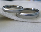 Titanium Ring SET with Offset Silver Pinstripe Inlay Frosted Finish
