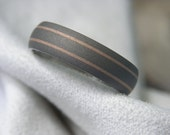 Titanium Rose Gold Pinstripe Ring Wedding Band Anniversary