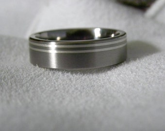 Titanium Ring with Double Silver Inlay Pinstripes