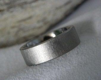 Titanium Ring with Flat Profile Frosted Finish Wedding Band