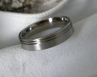 Titanium Ring with Double Offset Pinstripe Grooves