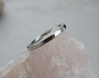 Titanium Ring or Wedding Band, 2mm, 3mm, Flat Profile