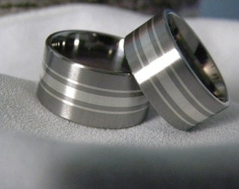 Titanium Silver Ring SET Matching Bands Beautiful Unique Style WIDE