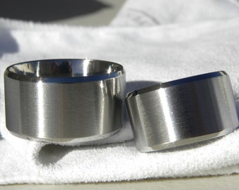 Titanium Ring SET or Wedding Bands EXTRA Wide Bands Matching Rings