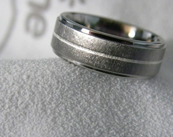 Titanium Ring or Flat Step Band with Pinstripe Sterling Silver Inlay
