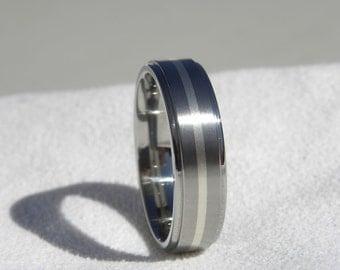 Titanium Ring with Silver Inlay Stripe Wedding Band