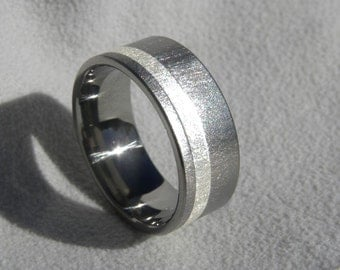 Titanium Ring or Wedding Band with Offset Sterling Silver Stripe