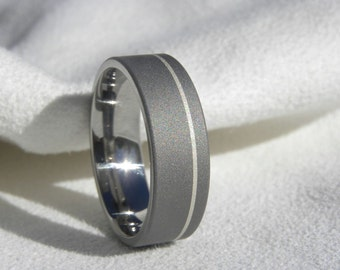 Titanium Ring with Offset Pinstripe Silver Inlay Sandblasted Gray AX93