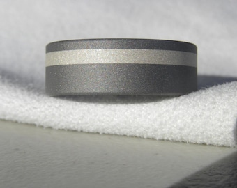 Titanium Ring or Wedding Band with Wide Offset Silver Inlay Sandblasted Finish