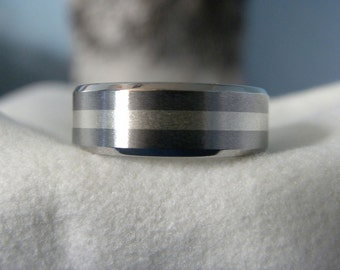 Titanium Ring with Silver Stripe Beveled Edge Band Made to Order