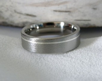 Titanium Ring with Narrow Offset Pinstripe Silver Inlay Stone Finish