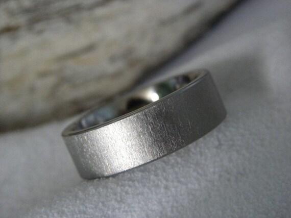 Titanium Ring Flat Profile Frosted Finish Band